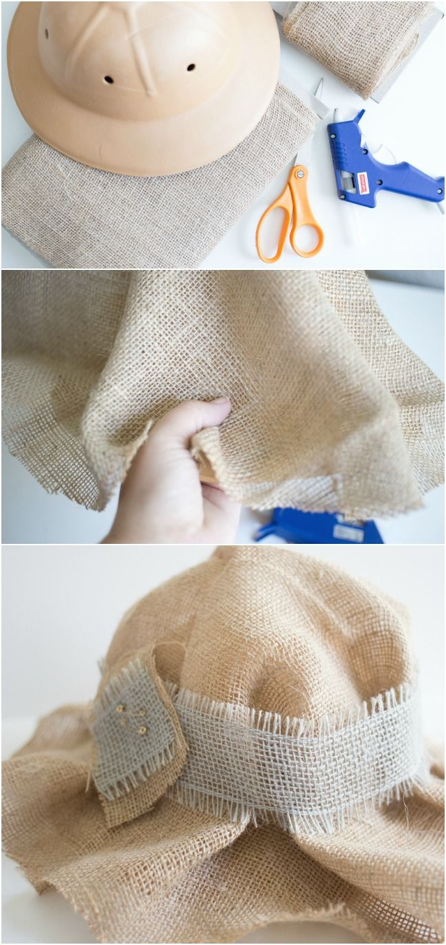 How to make a straw hat for an Easy No Sew Scarecrow Costume!