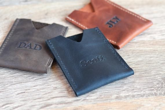 Personalized leather card holder Custom handmade credit card wallet Business card holder Front pocket wallet Distressed full grain leather