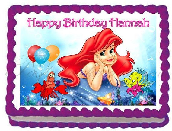 "THE LITTLE MERMAID Edible image cake topper decoration - Quarter sheet 10.5"" x 8"" / 7.5"" round"