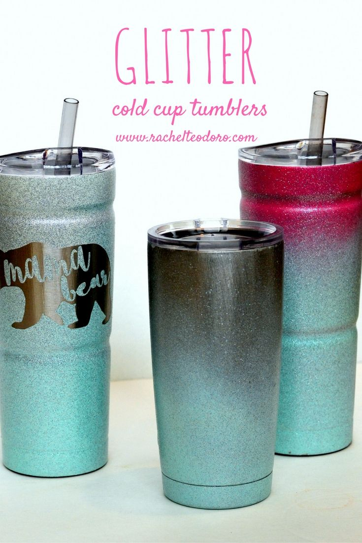 ombre spray painted glitter cold cup tumblers with full tutorial