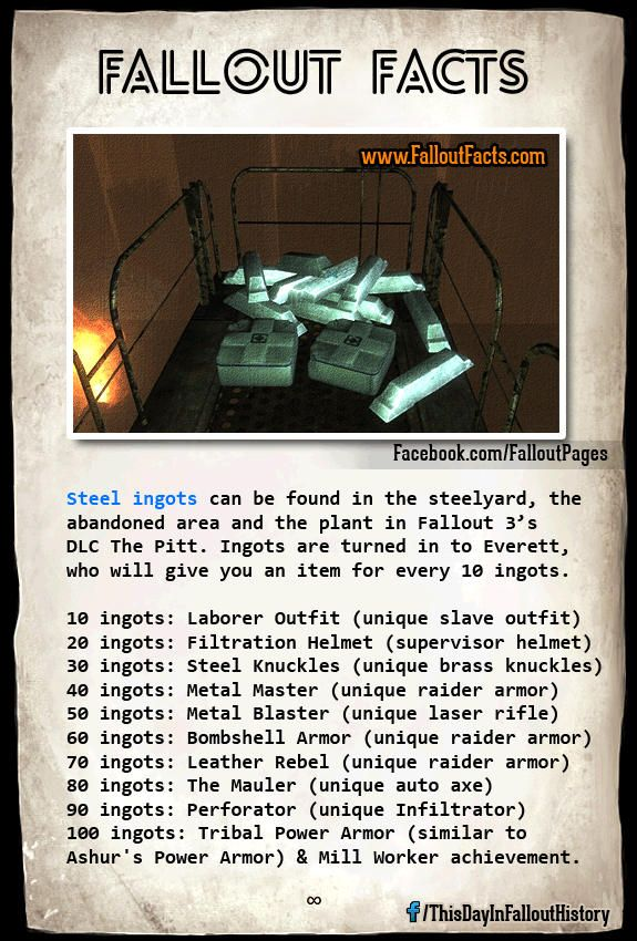 fallout 3 the pitt all steel ingots