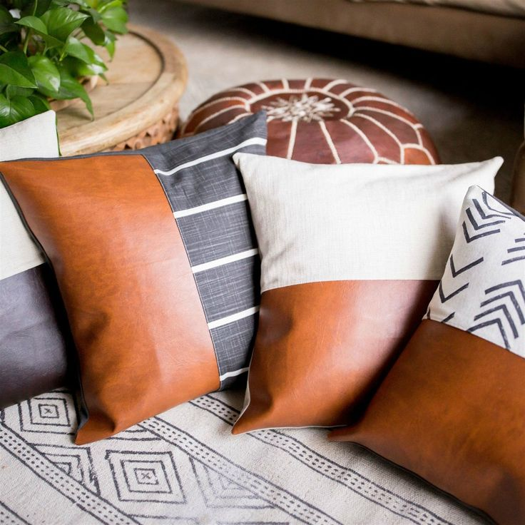 Leather Block Pillow Covers