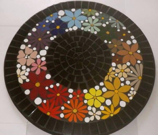 By Schandra Zmijeski, table flower, mosaic