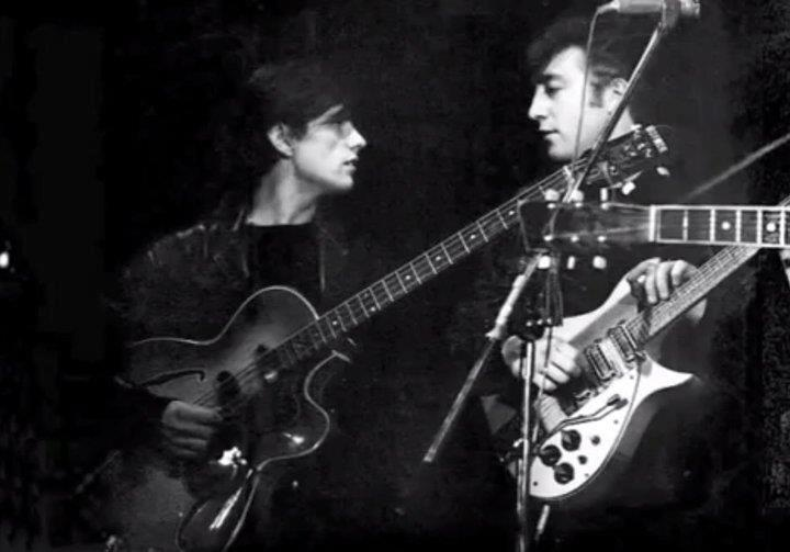 Stuart Sutcliffe and John Lennon, photo by Astrid Kircherr. | Stu was the Beatles' original bassist who, along with drummer Pete Best, left the Beatles before their rise to fame. He got engaged to photographer Astrid Kircherr during the band's stay in Hamburg, and later died of a brain aneurism on April 10, 1962 (aged 22).