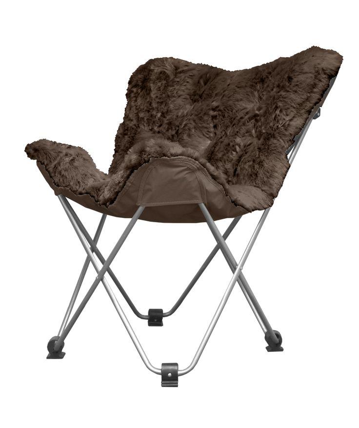 Urban Shop Long Hair Faux Fur Butterfly Lounge Chair