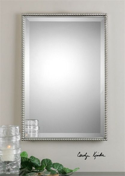 uttermost sherise brushed nickel mirror hall bathroom