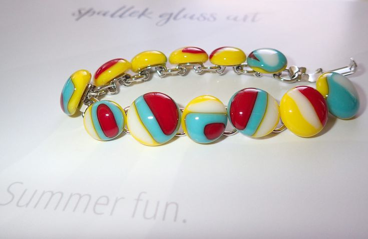 Summer fun: Yellow, red, white and turquoise  fused glass cabochon bracelet, bold colourful pattern, fused glass jewellery Spallek Glass Art by SpalleksGlassArt on Etsy https://www.etsy.com/au/listing/561307018/summer-fun-yellow-red-white-and