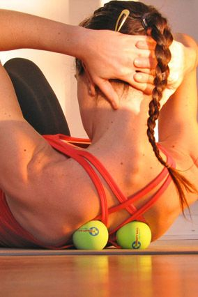 Roll out tension in the shoulder and upper back before you are debilitated! Yoga Tune Up Therapy Balls.