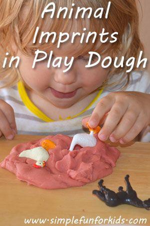 Science, Sensory, Cognitive | Farm, Animals, Prints, Tracks | Making animal footprints in play dough