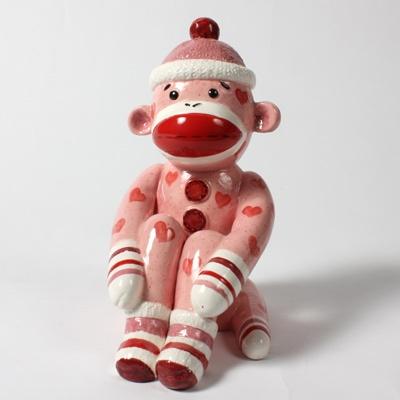 Pink Valentine Paintable Sock Monkey Bank #pottery