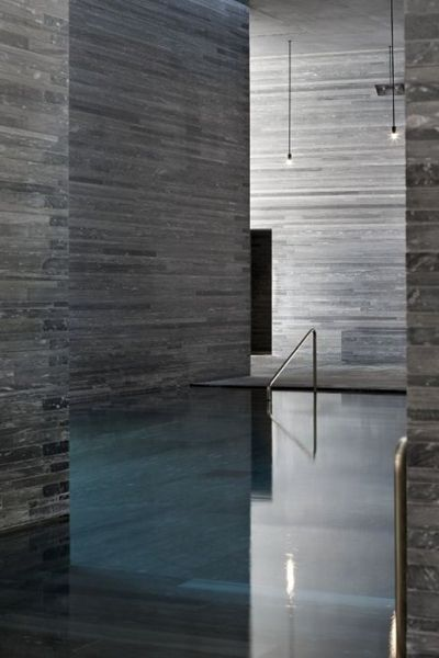 The Therme Vals. Location: Graubunden Canton, Switzerland; firm: Peter Zumthor, with Marc Loeliger, Thomas Durisch and Rainer Weitschies; year: 1996