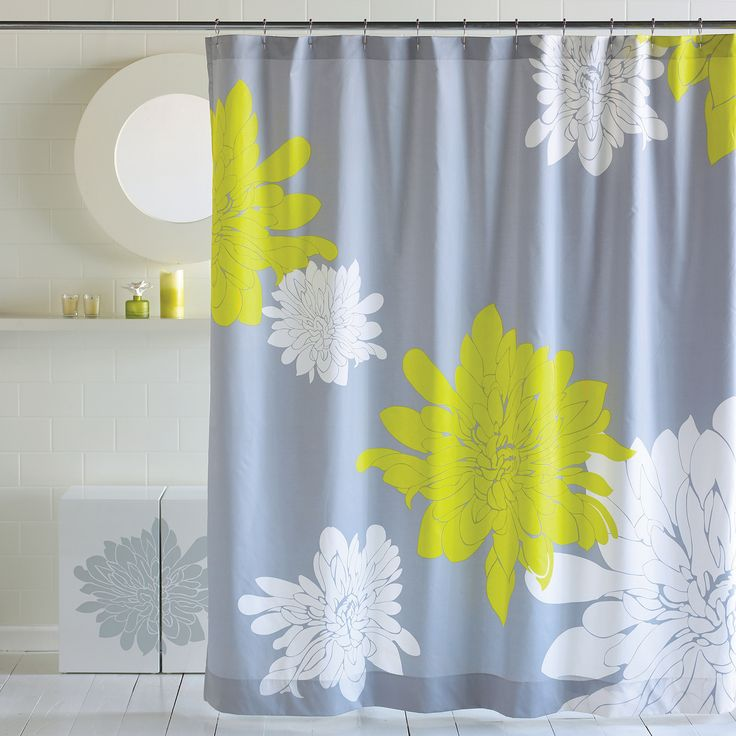 Citron White Grey Chrysanthemum Flower Shower Curtain Blissliving Home Ashley Collection