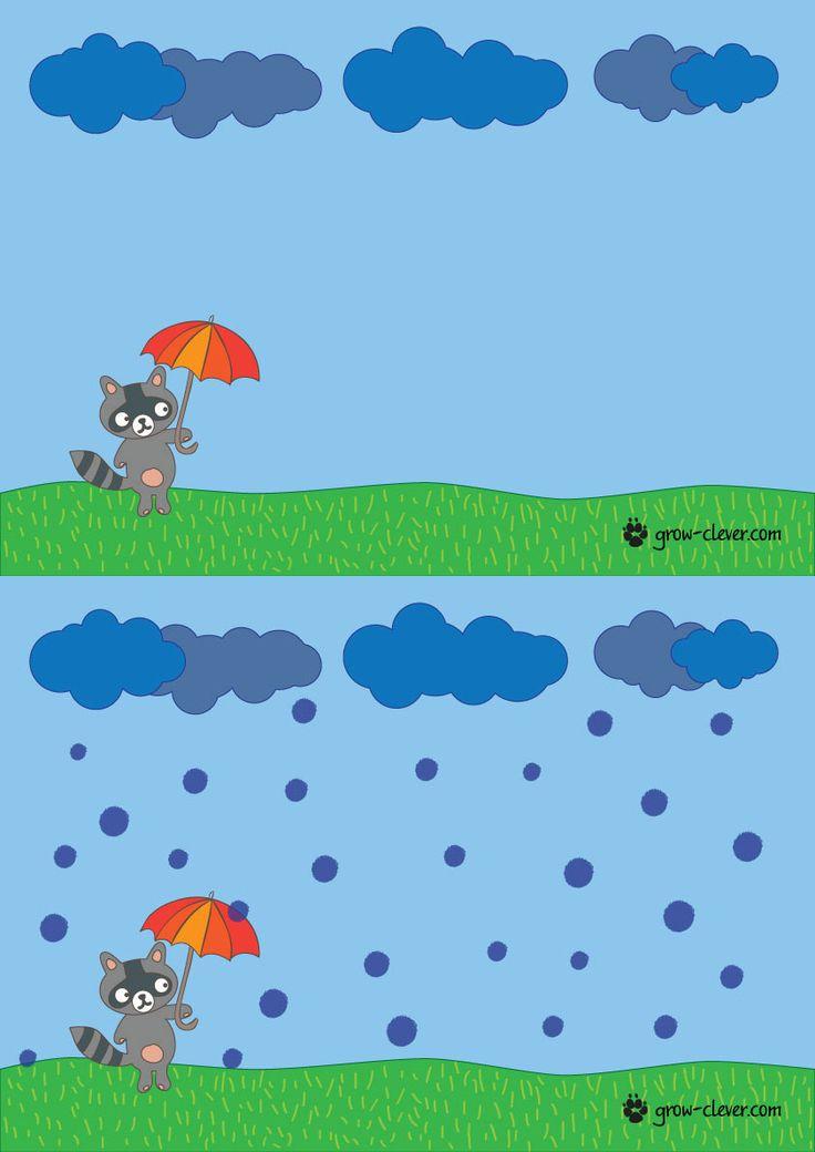 шаблон для рисования пальчиками с детьми, игры с детьми на тему осень, поделка на тему осень / printable worksheet for kids, let's make autumn rain!
