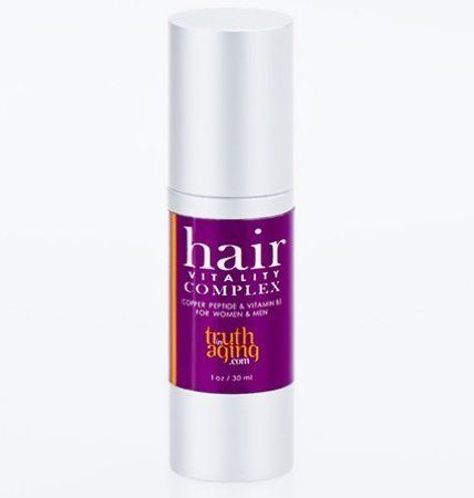 Hair Vitality Complex with Copper Peptides, 1oz by Truth In Aging. $49.00. 70% of 125 testers reported results. As seen in the Wall Street Journal. For women and men with thinning hair. Original Formula with Copper Peptides and Vitamin B5. Helps healthy hair growth, reduces shedding. Hair Vitality Complex is a hair serum that uses copper peptides as the active ingredient to help healthy hair growth and reduce shedding  Hair Vitality Complex has a proprietary copper p...
