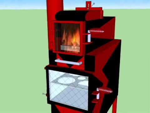 Reverse Rocket Stove Cooker Oven Heater