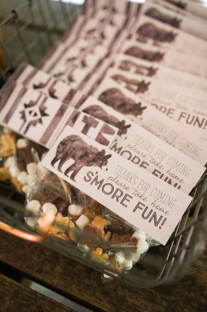 Smores bags from Grizzly Bear Man Cub 1st Birthday Party at Kara's Party Ideas