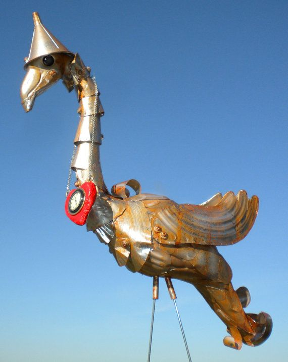 I want to do this!!!!!! Tin Man Oz Flamingo Recycled garden art handmade recycled yard art, lawn sculpture, up-cycled plastic flamingo
