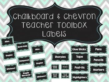 Editable Chalkboard and Chevron Teacher Toolbox Labels