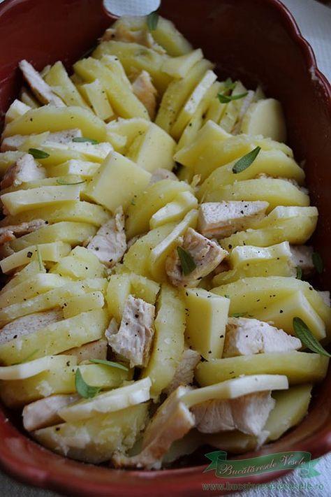 Cartofi cu cascaval si piept de pui la cuptor. Reteta de cartofi cu cascaval si piept de pui gratinati la cuptor. Cartofi cu cascaval si piept de pui.