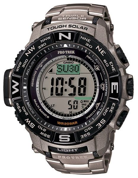 Finally released with a Titanium bracelet, this new Pro Trek model from Casio features a 200 meter water resistance, atomic timekeeping and the standard altimeter, barometer and compass with tough sol
