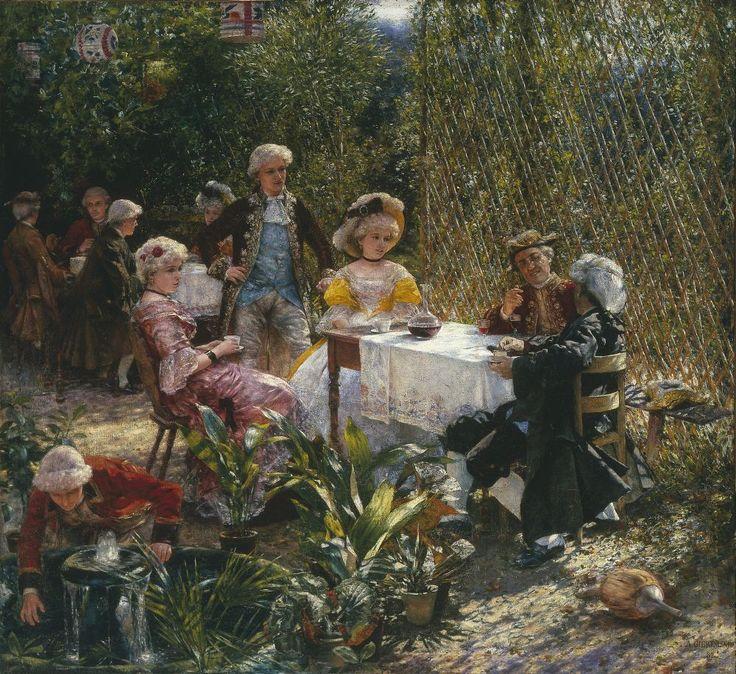 """http://culture.pl/  Aleksander Gierymski, """"W altanie"""", 1882, olej na płótnie, 135,5 x 148 cm, w zbiorach Muzeum Narodowego w Warszawie, fot. MNW"""