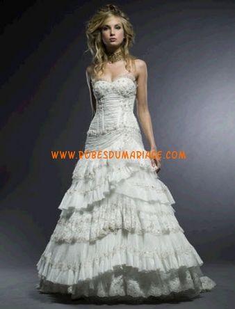 Michelle robe de mariée sans bretelle longue ornée de cristal organza