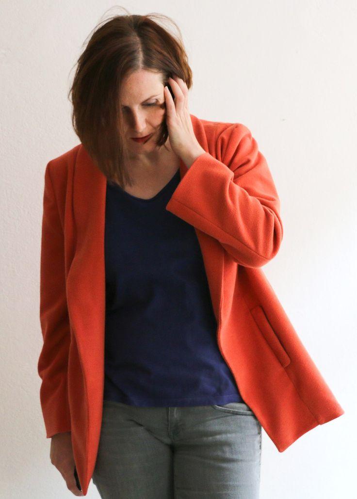 Blazer aus Cord in Orange - Schneidersitz
