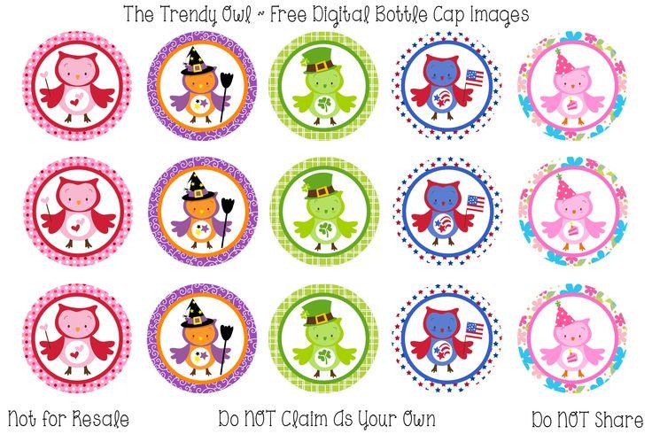 Holiday Owls <3 Retired images uploaded as freebies! Enjoy! ~ FREE Digital Bottle Cap Images!! https://www.facebook.com/thetrendyowlUS http://www.thetrendyowl.com