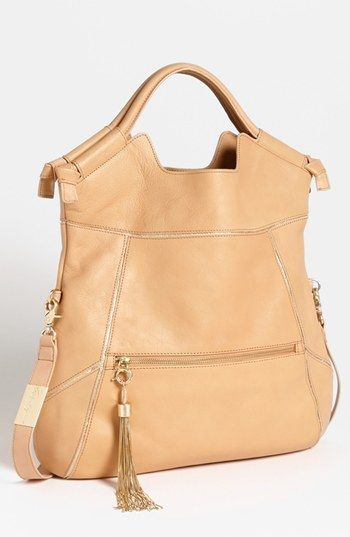 'Mid City' Foldover Leather Tote Nude