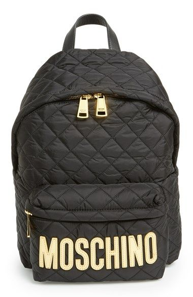 Free shipping and returns on Moschino Quilted Nylon Logo Backpack at Nordstrom.com. Glossy patent logo letters lend unmistakable streetwise edge and a bit of biker flair to a covetable nylon backpack, while tonal diamond quilting and goldtone hardware preserve Moschino's signature glamour.