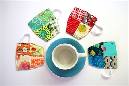 4 x Patchwork Fabric Cup Coasters