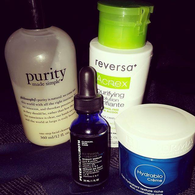 Night routine:  Philosophy Purity made Simple  Reversa Acnex purifying solution  Peter Thomas Roth Retinol Fusion Pm  Bioderma Hydrabio crème  #night #routine #skincare #retinol #beauty #loveyourskin