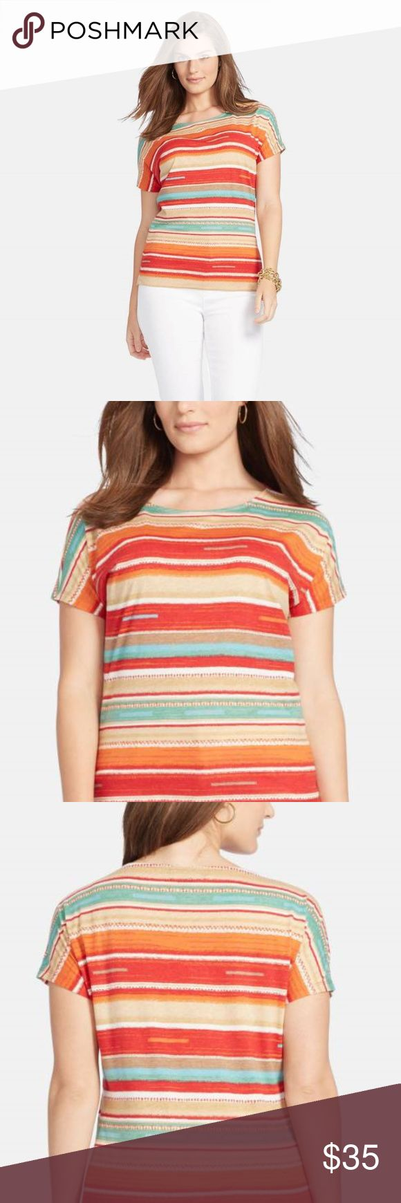 Lauren Ralph Lauren Stripe Ballet Neck Tee, Size 3 Gorgeous Southwestern-inspired colors refresh a lightweight cotton tee designed with a ballet neckline and short dolman sleeves. 100% cotton. Machine wash cold, tumble dry low. By Lauren Ralph Lauren; imported. Size 3X New with Tags MSRP $64.50 Lauren Ralph Lauren Tops Tees - Short Sleeve