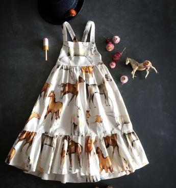 Ivory white horse print maxi dress girls kids childrens horse fabric