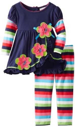 Rare Editions Girls 2-6X Striped Leg Set Toddler - Buy New: $24.99