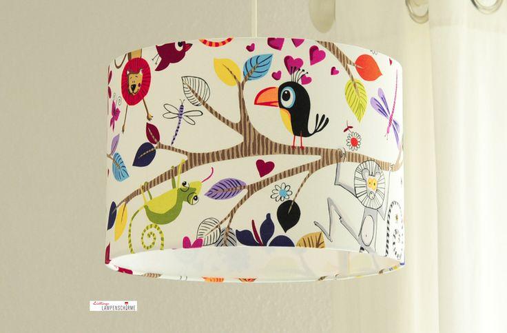 bunter Lampenschirm, Tiere // colorfull animal lamp shade by Lieblings-Lampenschirme via DaWanda.com