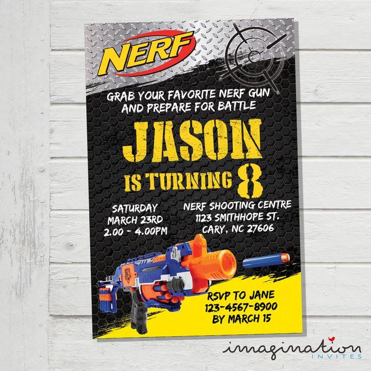 Nerf Invitation Nerf Wars Battle Birthday Invite Nerf Darts Nerf Army Soilders JPEG Digital File Customized Invite by ImaginationInvites on Etsy