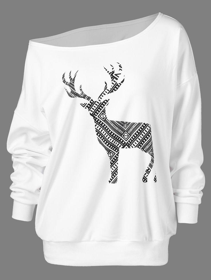 Skew Collar Fawn Print Pullover Sweatshirt