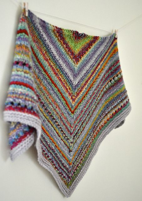 Some of This and That Kerchief, great use of leftover yarn. Knitting Shawl