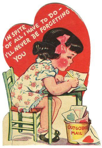 awww Vintage Valentine. Via http://www.snippetandink.com