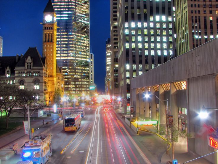Queen Street looking east...Nathan Phillips Square on the left and Sheraton Toronto on the right.