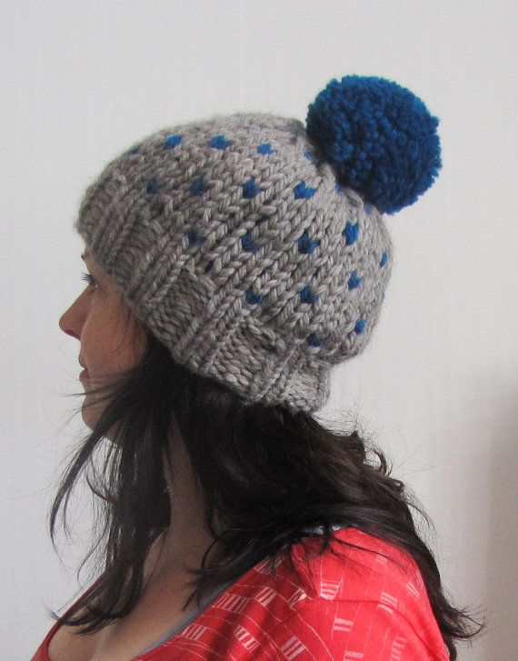 Gray and Aqua Knitted Pompom Slouch Hat for Winter made by Faite