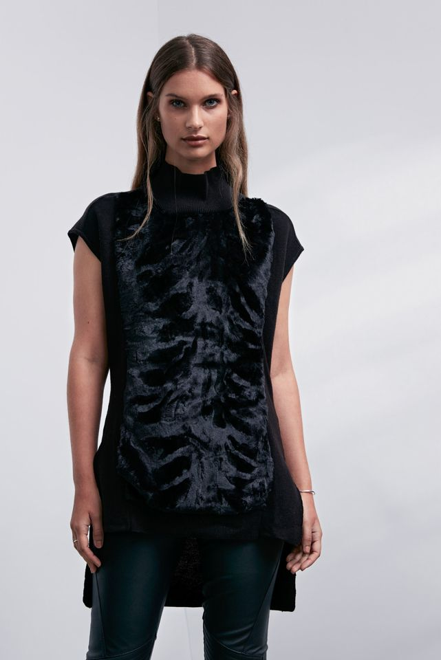 OnceWas: Yumi fur front funnel neck knit and Fortune quilted stretch leather pant.