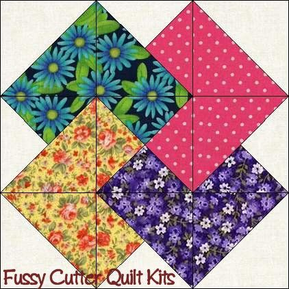Scrappy Patchwork Fabric Card Trick Pattern Easy Pre-Cut Quilt Blocks Top Kit
