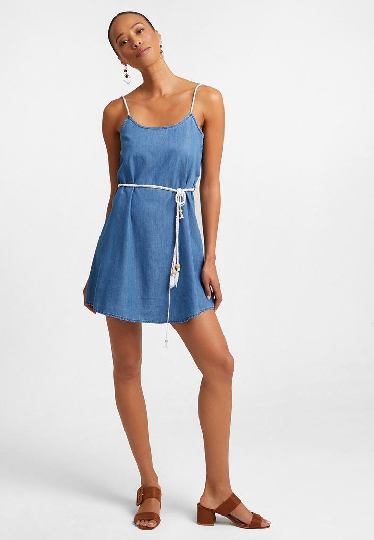 Oxxo Oxxo Mavi Aski Detayli Mini Kot Elbise Kot Elbiseler Moda Stilleri Elbise Modelleri