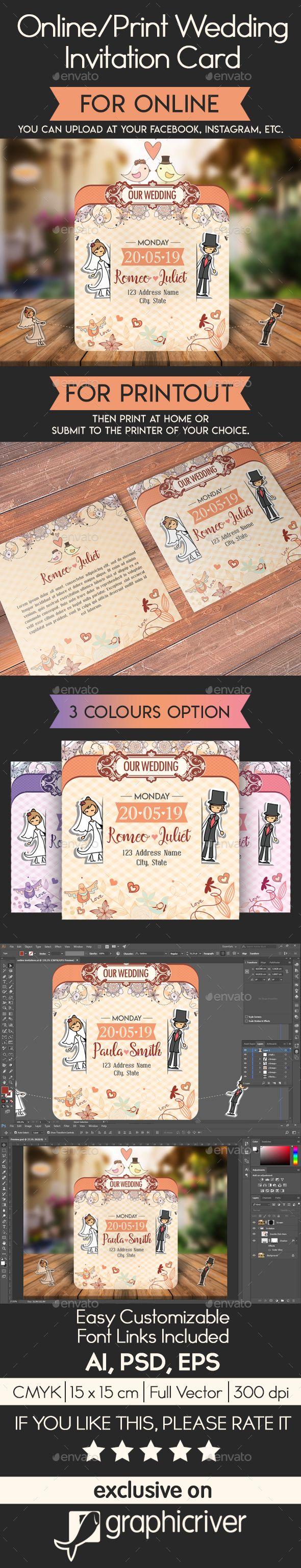Online Print Wedding Invitation Card The