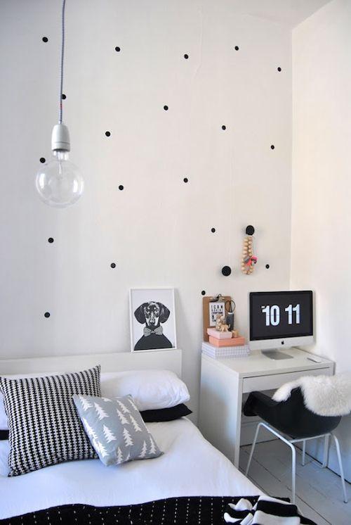 stickers?Scandinavian Bedroom, Black And White, Interiors, Kids Room, Polka Dots Wall, Black White, White Bedrooms, Polka Dot Walls, White Room