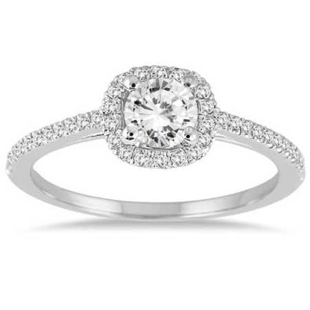 Sparkly Cushion Style Halo Engagement Ring | Engagement Rings For Under $1000 | bridesandrings.com