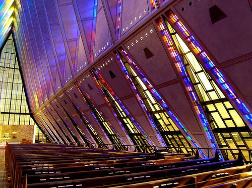inside of the AFA chapel in colorado springsChurch Design, Academy Cadet, Cadet Chapel, Academy Chapel, Us Air Force, Colorado Spring, United States, Air Force Academy, Air Academy