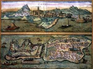 View Of Candia And Corfu  Joris Hoefnagel